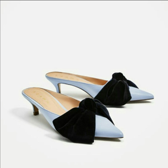 011b055757483 Zara Shoes   Light Blue Kitten Heel Mules With Bow   Poshmark
